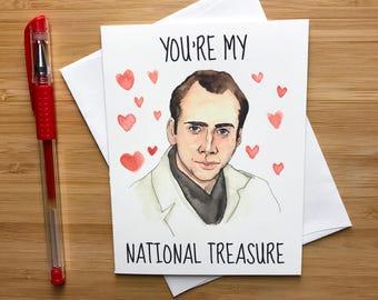 Nicolas Cage Valentine Card, Funny, Love Greeting Card, Romantic Card, Funny Love Card, Funny Pun Card, Anniversary Card, Greeting Card