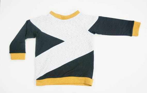 JOUBARBE - long-sleeves sweater with rond neck, asymetric shirt, pull for kids: boys - white, yellow and gris