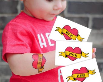 Set of 3 temporary tattoos Love mom. Classic tattoo design: heart with ribbon. Mother's day gift. Great for mommy's boys and girls. TT271