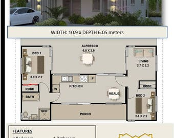 Shipping Container Home Plans For Sale  |  3 containers combined floor plans | 840sq foot  |  78m2 | 2 Bed