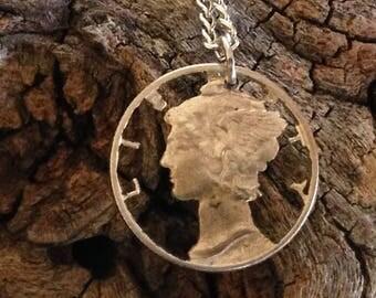 Vintage Silver 1942 Cutout Dime Necklace