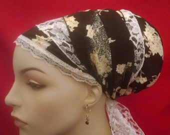 Silky and lacy floral tichel, sinar tichels, head scarves, hair snood, chemo scarves, mitpachat