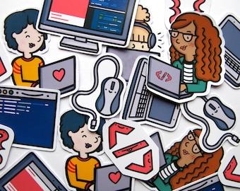 Girl Developer Sticker Pack   Coding Sticker Pack   Girls in Technology   Hacker Sticker Pack   Computer Stickers   Laptop Stickers