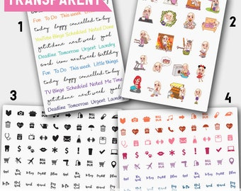 Clear Stickers, Clear Sticker Kit, Transparent Stickers, Clear Planner Stickers, Waterproof Stickers, ECLP,Happy Planner
