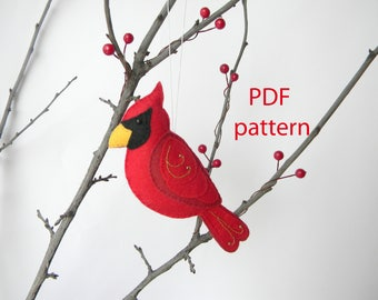 Christmas Cardinal ornament Felt cardinal  Red male cardinal Easy Sewing PDF Pattern  Felt Bird Plush Bird Cardinal lover Instant Download