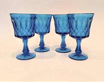 Noritake Blue Perspective Glass Goblets,Set of 4 Noritake Blue Glasses, Colonial Blue Wine Glasses