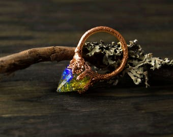 9/ Pointy Sea Witch Fairy Elf Lichen Nature Forest Threatening Electroformed Copper Resin Ring