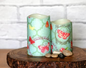 Mothers Day Candle Gift Set, Butterfly Print Home Decor, Flameless LED Pillar Candles, Pink Butterfly Candle Gift