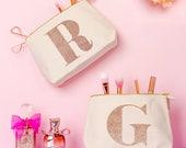 Personalised Bridesmaid Bag - Gift For Beauty Lover - Personalised Makeup Bag -  Rose Gold - Initial Makeup Bag - Alphabet Bags