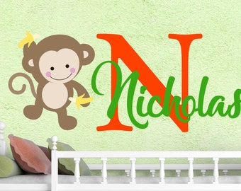 Wall Decal Personalized Boys Initial Name Vinyl Sticker Monkey Colorful Decals Custom Name Nursery Jungle Animal Toddlers Bedroom Art NS2026