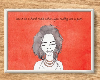 Lauryn Hill - Illustrated Watercolor Print - Custom Lyrics