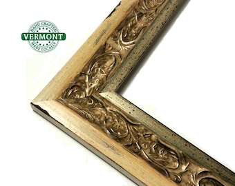 Ancient Ornate Gold Picture Frame, Carved Distressed Wood Moulding - Glass, Backer & Hardware, 5x7,8x10,11x1416x20,17x20,20x24,24x36, Custom