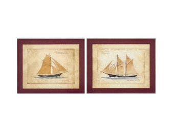 Set of 2 - 20x24 Vintage FRAMED Schooner Juliet & Schooner Angelique Art Print by Martin Wiscombe, Ship Art, Vintage, Schooner, Sailing