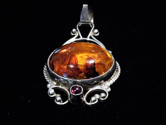 Genuine Baltic Amber Pendant / Rhodolite Garnet / Sterling Silver