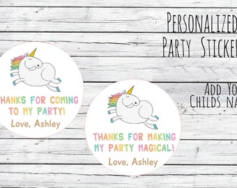 Personalized Thanks For Making My Party Magical 1st Birthday Party Favor Tags, Fairytale Theme, Tags, Thanks for Coming, Stickers, Unicorn
