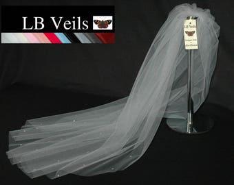 Grey Wedding Veil, Crystal Veil, 1 Single Tier, Light Grey Veil, Grey Crystal Veil, Elbow Length, Diamante, Sparkle, LB Veils 158 UK