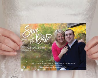 Modern Photo Save the Date with Script Lettering and