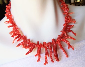 Vintage Pink Branch Coral Necklace, Salmon Pink Chunky Coral Statement Necklace, Pink Genuine Coral Necklace, Boho Jewelry, Natural Jewelry