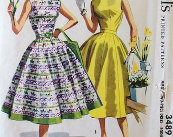 1950s Dress Pattern - Vintage McCall's 3489 Sewing Pattern - Bust 32