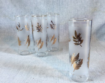 Vintage Libbey Rock Sharpe Golden Foliage Tom Collins Glasses, Set of 6, Gold Leaf Glasses, Mid Century Barware