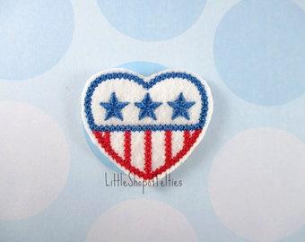 RTS Patriotic Heart Felties (Set of 4 UNCUT) Glitter FELT Felties, Hair Bow Centers, Felt embellishments, Felt Appliques, Ready to Ship