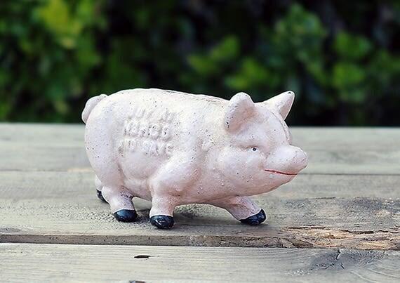 Norco Cast Iron Piggy Bank-Cast Iron Piggy Bank-Vintage Piggy Bank-Antique Piggy Bank-Vintage Bank-Save with Norco-Vintage Money Bank
