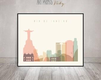 Rio De Janeiro print, Poster, Wall art, Rio De Janeiro Brazil skyline, City print, Typography art, Home Decor, Digital Print ArtPrintsVicky