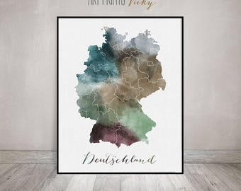 Germany watercolor map, Deutschland watercolor print, Germany Wall art, Germany map poster, Typography art, Fine art prints ArtPrintsVicky