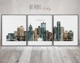 Detroit poster set of 3 prints by ArtPrintsVicky