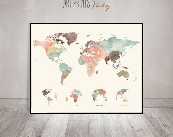 map of the world wall art print   ArtPrintsVicky.com