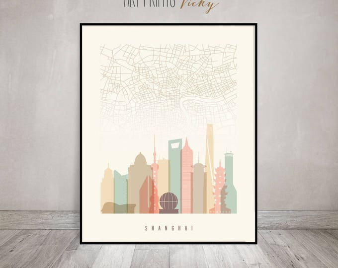 Shanghai map, Shanghai print, Shanghai skyline map poster, China, Wall decor, City poster, Travel gift, Home decor, Wall art, ArtPrintsVicky