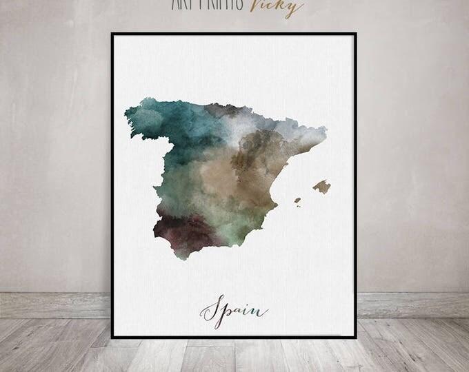 Spain watercolor map, Spain Wall art, Spain travel map print, Spain map poster, Spain watercolor print, Fine art prints, ArtPrintsVicky.