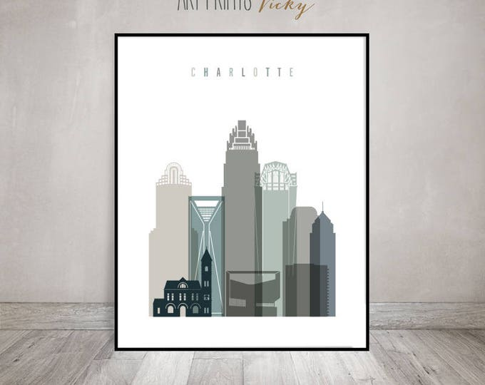 Charlotte skyline art print, Poster, Wall art, housewarming gift, Travel poster, Travel decor, Travel gift, wall decor, ArtPrintsVicky