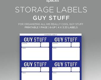 Storage Labels - Guy Stuff Organizing Labels - PRINTABLE Labels