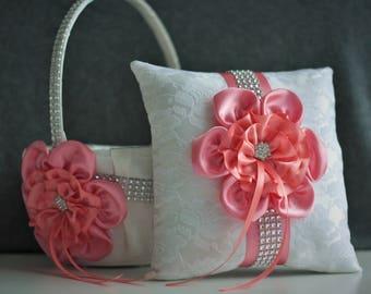 Coral Wedding Pillow / Coral Wedding Basket / Ivory Coral Bearer Pillow / Coral Flower Girl Basket / Coral Wedding Ring Bearer Basket Set