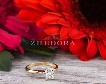 1.0 CT Emerald Solitaire Engagement Ring Solid 14k or 18k yellow Gold , Emerald Wedding Ring, Emerald Cut Ring, Emerald Shape by Zhedora