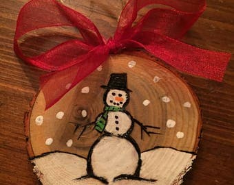 Classic Snowman Ornament, Wood Slice Ornament, Hand Painted, Wood Burned Ornament