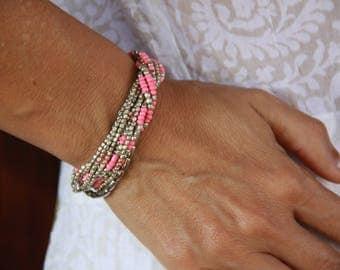 Pink Summer Bracelet - Bright Beads Bracelet - Pink Stackable Bracelet - Summer Jewelry Bracelet - Bracelet Gift for Girlfriend