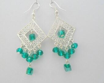 Green Crystal earrings, Chandelier Earrings, Large Statement earrings, Boho earrings, Gypsy earrings, Green Earrings, Silver Earrings,
