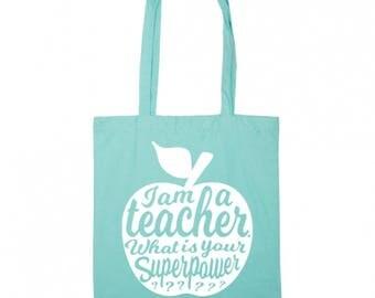 Teacher tote bag MINT   Teacher gift idea   Teacher bag appreciation gift   Gift for teacher   National teacher day   Shopping tote bag