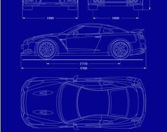 Nissan GT-R Blueprint Poster