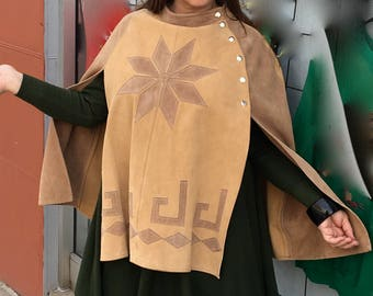 1970's SOFT, SUPPLE, SUEDE cape with 6 side domes to close and wonderful star motif - very Mod!!