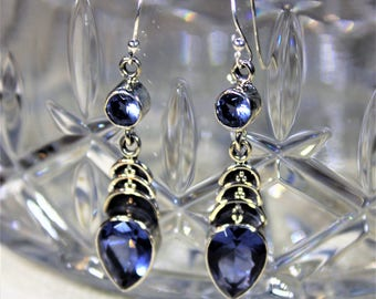 Iolite earrings, .925 Sterling silver earrings, dangle earrings, blue earrings, drop earrings