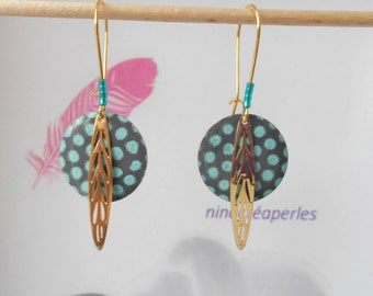 Earrings Golden sequin enameled gray and turquoise