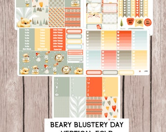 BEARY BLUSTERY DAY Planner Sticker Kit | perfect for vertical Erin Condren Life Planner | L272