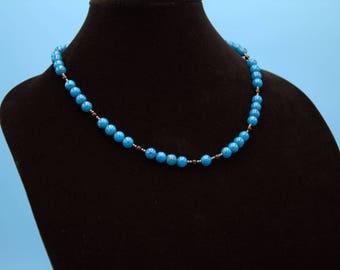 Genuine Turquoise, Black Onyx, and Hematite Necklace