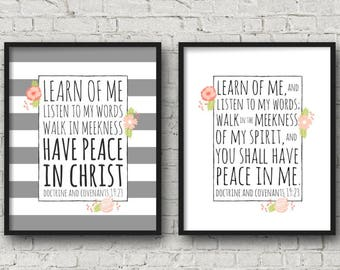 2018 LDS Mutual Theme, DIGITAL DOWNLOAD, Learn Of Me, Peace In Me, Multiple Sizes included, Young Womens Poster, Mutual Theme Printable