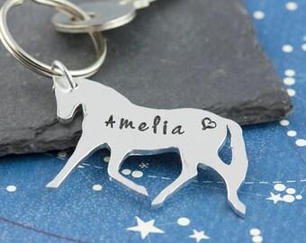 Personalized horse keychain, horse keyring, name keychain, horse rider gift, hand stamped, personalized gift, animal keychain, silver horse