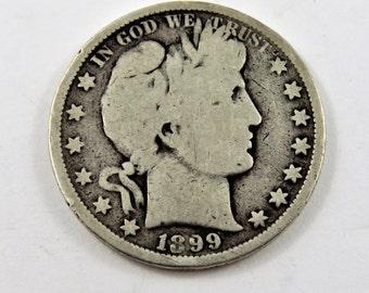 U.S. 1899 Silver Barber Half Dollar Coin.