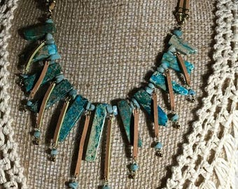Handmade Genuine Amazonite Spike Necklace Jasper Spike Necklace Leather Collar Necklace, bib necklace, Amazonite necklace Jasper necklace